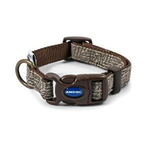 Ancol Dog Collar Herringbone Country Brown Collar Matching Lead Available