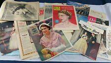 Princess Elizabeth Wedding + Coronation British Newspaper Collection 1950's