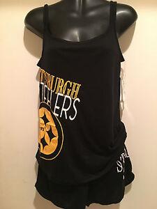 Pittsburgh Steelers Ladies 2 Piece Sleep Set-Transcend TankTop & Short Sleep Set
