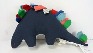 "Pottery Barn Kids Dempsey Dino Stegosaurus Reversible Pillow Blue 8.5""H #6929"