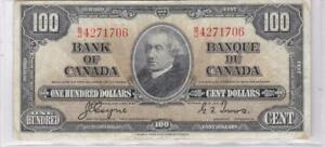 1937 $100 CANADA 100 DOLLARS BANK NOTE COYNE TOWERS
