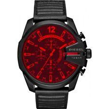 Diesel Men's Chronograph Mega Chief Black Leather Strap Watch 52mm DZ4460