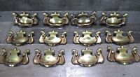 "Vintage Brass Batwing Drawer Pull Lot 12 Chippendale Drop Bail Handle 3"" Patina"