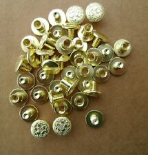 """20 Pack Fancy Floral Brass Chicago Screws 3/8"""" Belts Bridles Leather Craft NEW 2"""