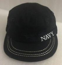 Black Official US NAVY USA Military Cadet Distressed Style Adjustable Cap