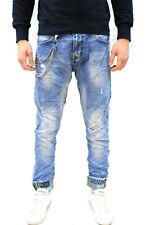 Jeans uomo denim con catena strappati  stampa slim fit Pantaloni da uomo strappi