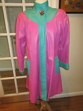 Vintage Mod Pink & Green Turquoise All Leather Swing Coat by Panos Seretis NY-M