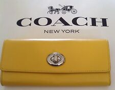 COACH F53663 Smooth Leather Turnlock Envelope Wallet SV/Yellow NWOT W/Gift Box