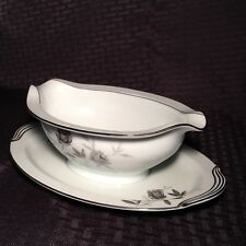 Vintage Noritake Rosamor 5851 Gravy Boat with Attached Underplate Japan