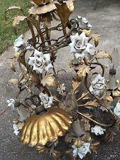 Vintage Chandelier Gilded Bronze Porcelain Flower Electric