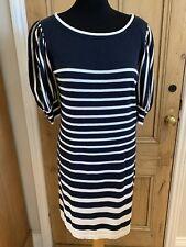 M&S Autograph Knit Jumper Dress Striped UK 12 Blue White Bodycon Casual