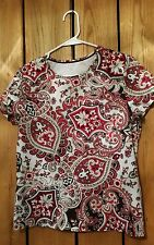 Womens Size M Unbranded Short Sleeve 100 % Cotton Paisley Blouse