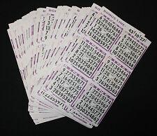 BINGO PAPER Cards, 6 on 1 Purple 200 sheets NO duplicates BONUS LINE  FREE SHIP
