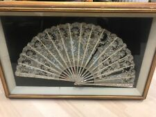 Antique point De gaze Lace Mother Of Pearl Painted Silk Fan - Restoration FRAMED