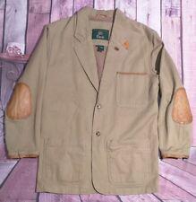 Vtg Military Tan Orvis Safari Button Leather Elbows Blazer Jacket Size Small