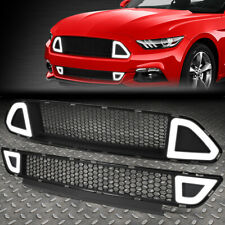 FOR 15-17 FORD MUSTANG TRIANGLE LED HONEYCOMB FRONT BUMPER UPPER+LOWER GRILLE