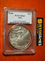 1996 $1 AMERICAN SILVER EAGLE PCGS MS69 CLASSIC BLUE LABEL