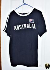 """Men's Large 100% Cotton Black """"Australia"""" Australian Flag Sports T-Shirt Euc"""