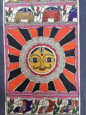 """Dipinto originale di madhubani mithila """"SUN"""" fatto a mano INDIANO Folk Art"""
