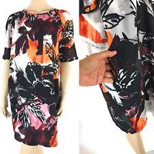 MANGO MNG Shift Dress Womens Retro Floral Print Short Sleeve 10 X-Large XL