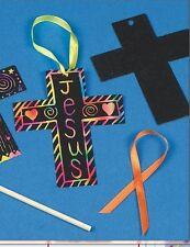 """2 Cross Scratch Art Ornament 3"""" x 4"""" """" in size Great FUN! Christian Craft"""