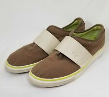 Puma Men's Brown Green Striped Canvas Slip On Loafer Ivory Strap Shoes Size 11