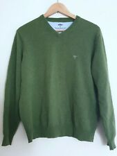 Fynch Hatton Mens Wool Cashmere Jumper Sweater Green V-Neck Sz Medium