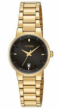 Citizen EU6012-58E Women's Quartz Gold Tone Black Dial 3-Hand Dress Watch