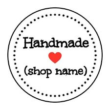 """PERSONALIZED HANDMADE HEART STICKER LABEL ENVELOPE SEAL PARTY 1.2"""" OR 1.5"""" ROUND"""