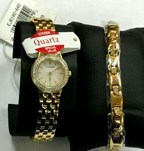 Citizen EJ6102-64D Gold-Tone Stainless Steel Bracelet& Watch Ladies Set WARRANTY