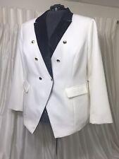 Midnight Velvet Tuxedo Jacket Blazer Ivory Black Satin Lapels Crop Plus Size 20