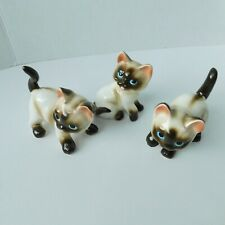 """Lot of 3, Vintage Siamese Cat Ceramic Figurines Kitty Cats Mcm 3.5"""" Collectible"""