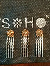 SOHO Vintage Jeweled Decorative Hair Miniature Combs 4 prong