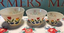 1950s FireKing Tulips on Ivory Set of 3 Splash Proof Nesting/Mixing Bowls Nice!
