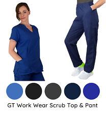 Women's Medical Nursing Scrub Set Gt Original V-neck Top and Pant-New-Free Ship