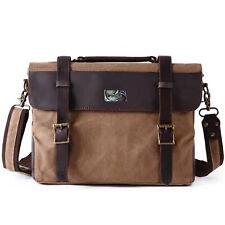 Men's Vintage Canvas Leather Satchel Laptop Business Shoulder Messenger Bag