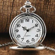 Men's Pocket Watch with Silver Ton Chain Necklace Watches VINTAGE Wedding Gift