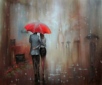 100%Hand-painted Art Oil Painting Cityscape Figure 16*20inch  Decoration