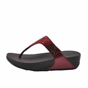 FitFlop Lulu Crystal Oxblood Red Women's Embellished Sandals EJ8-894