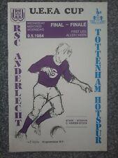 More details for anderlecht v tottenham hotspur 1984 uefa cup final