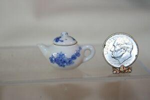 Miniature Dollhouse White Porcelain Tea Pot w Blue Rose Flowers 1:12 NR