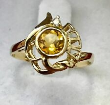 14k Solid  yellow gold  natural diamond & round citrine ring 0.55 ct unique