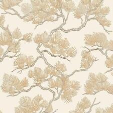 Cream Gold Pine Tree Wallpaper Textured Embossed Metallic Paste The Wall Vinyl