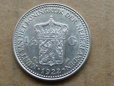 1/2e gulden, Wilhelmina, 1922, zilver, prachtig.