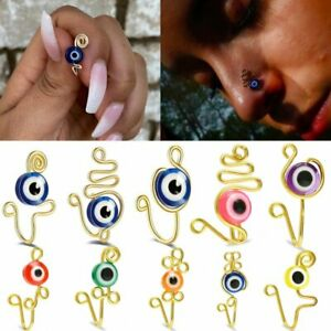 Stainless Steel Evil Eye Non-piercing Nose Ring Ear Clip Cuff Women Jewelry Gift