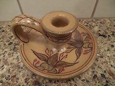 Pretty Rustic Algarve Portugal Art Pottery Candle Holder Floral Design