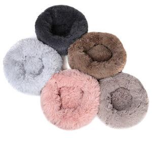 Round Plush Donut Pet Dog Cat Bed Fur Cuddler Warm Soft Puppy Calming Bed Kennel