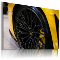 LAMBORGHINI AVENTADOR YELLOW Sport Cars Large Wall Canvas  ART AU845 UNFRAMED