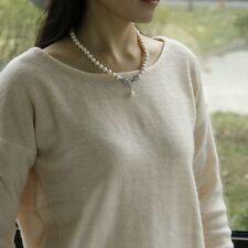 Collier Perle Blanc de Culture d`Eau Douce Argent Massive 925 Noeud Papillon TZ