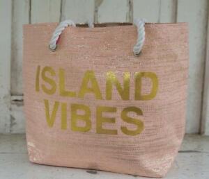 "FAB LADIES PINK AND GOLD METALLIC ""ISLAND VIBES"" BEACH BAG"